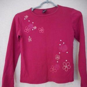 GAP raspberry knit top floral  Size L (10)